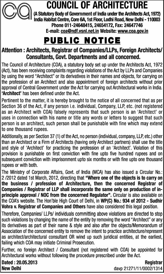 COA Public Notice